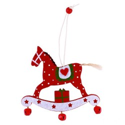 Ozdoba na vianočný stromček  z dreva - hojdací koník červený