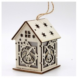 Drevený svietiaci domček natur - Zvonček 6*10 cm