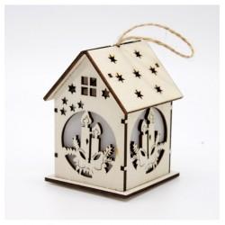 Drevený svietiaci domček natur - Sviečky