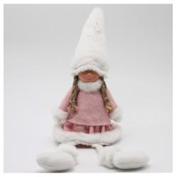 IMP-EX Vianočná dekorácia - dievčatko sediace v ružových šatách 45 cm
