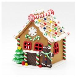 Vianočná dekorácia - perníková chalúpka s LED osvietením 13x16 cm