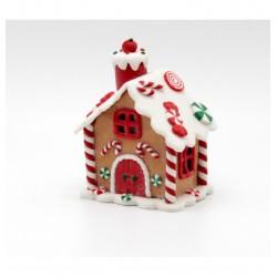 Vianočná dekorácia - perníková chalúpka s LED osvietením 7x9 cm