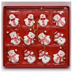Ozdoby na vianočný stromček - snehuliaci 12 kusov