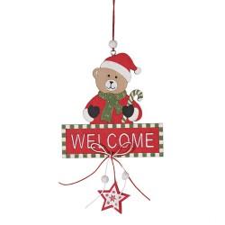 Drevená závesná dekorácia na dvere - Welcome - Macko