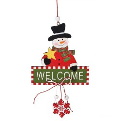 Drevená závesná dekorácia na dvere - Welcome - Snehuliak