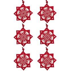 Ozdoby na vianočný stromček z filcu 6 ks - snehové vločky červené