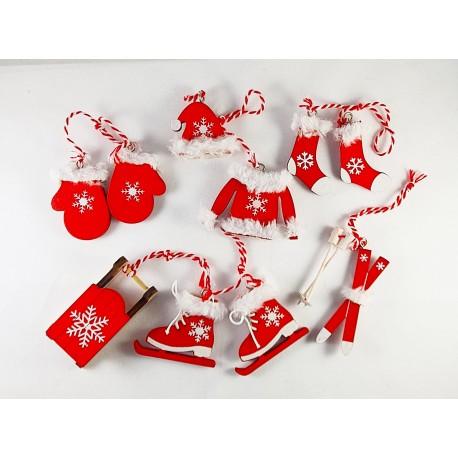 Karácsonyfa dísz fából, piros , szőrmés 6db-os szett 456769