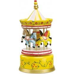 Small Foot Hracia skrinka Kolotoč s koníkmi Karneval - žltý