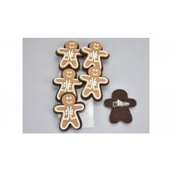 Drevené dekoračné štipce 6 ks - medovníčkovia
