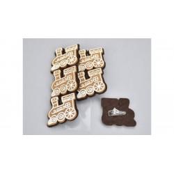 Drevené dekoračné štipce 6 ks - medovníkové vláčiky