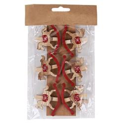 Drevené dekoračné štipce 6 ks - hojdacie koníky