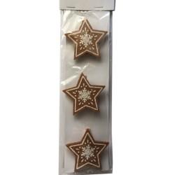 Drevené dekoračné štipce 3 ks - hviezdičky