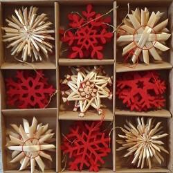 Ozdoby na vianočný stromček zo slamy a z filcu - 32 kusov