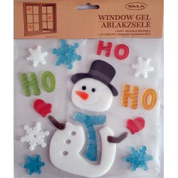 Vianočné ozdoby - nálepky na okno snehuliak HO HO HO
