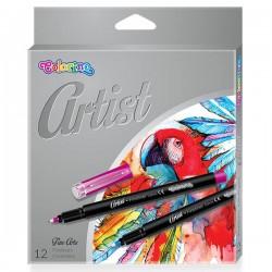 Colorino Artist farebné fixky s extra-tenkým hrotom - 12 farieb
