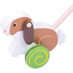 BIGJIGS Drevená hračka na tlačenie - Zajačik