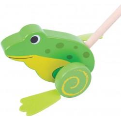 BIGJIGS Drevená hračka na tlačenie - Žabka