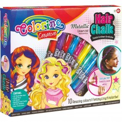 Colorino Kids farebné kriedy na vlasy 10 farieb - metalické