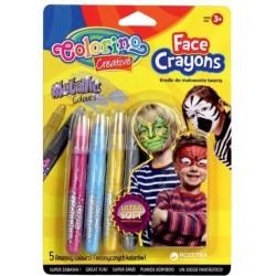 Colorino Kids pastelky na maľovanie tváre 5 farieb - metalické