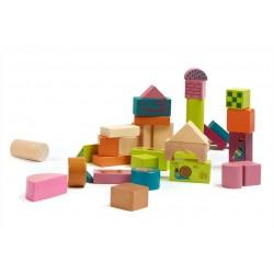 Oops drevené stavebné kocky - 50-dielne