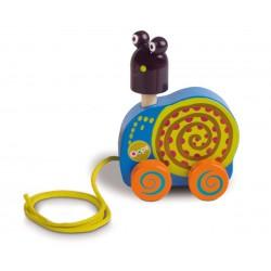 Oops drevená hračka na ťahanie Mushee