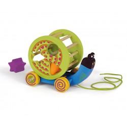 Oops drevená edukačná hračka na ťahanie Mushee