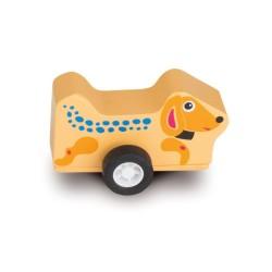Oops drevená hračka na zotrvačník - psík Happy
