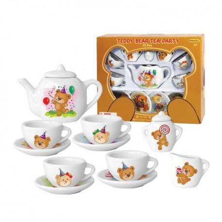 Detská porcelánová čajová súprava - biela s medvedíkom