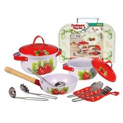Detská kuchynská sada 11-dielna v kufríku - s jahodami