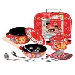Detská kuchynská sada 11-dielna v kufríku - červená s kvietkami