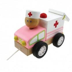 Drevené autíčko na ťahanie - Ambulancia