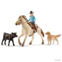 Schleich 42419 set westernová jazdkyňa so zvieratkami