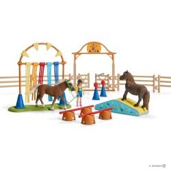 Schleich 42481 set výcvik v agility s poníkmi