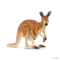 Schleich 14756 divoké zvieratko kengura červená s mládaťom