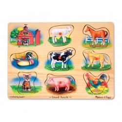 Melissa & Doug Drevené zvukové puzzle - Farma a zvieratká