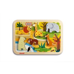 JANOD Drevené vkladacie puzzle pre najmenších ZOO Chunky