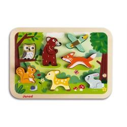 JANOD detské drevené puzzle Lesné zvieratká Chunky