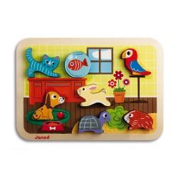 JANOD detské drevené puzzle Domáce zvieratká Chunky