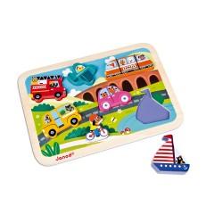 JANOD detské drevené puzzle Dopravné prostriedky Chunky