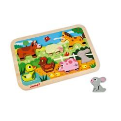 JANOD detské drevené puzzle Farma Chunky