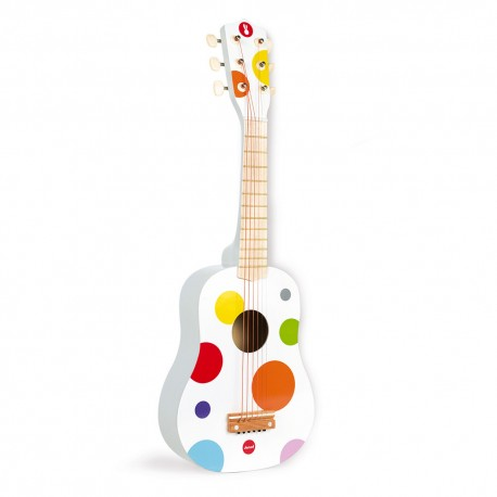 JANOD detská drevená gitara bodkovaná