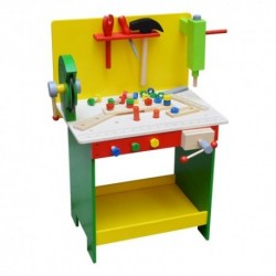 Detský pracovný stôl z dreva - zeleno-žltý