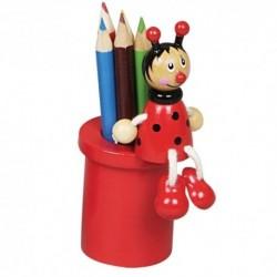 Drevený stojan na ceruzky s farbičkami - lienka