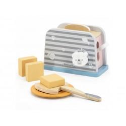 VIGA PolarB drevený detský toaster s doplnkami