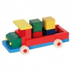 Drevené autíčko - nákladné veľké s kockami