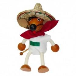 Drevená figúrka na pružinke - Mexická myš