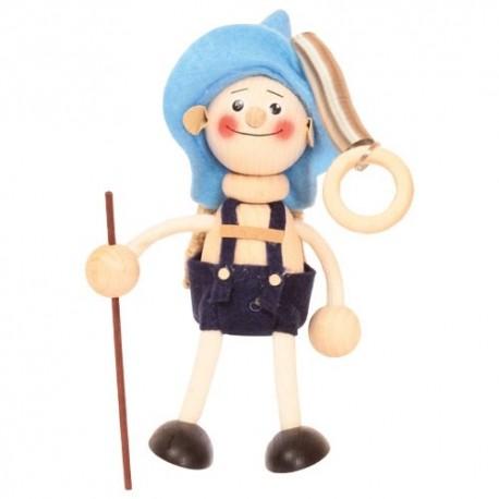 Drevená figúrka na pružinke - Chlapček vandrovník - modrý