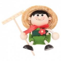 Drevená figúrka na pružinke - Chlapček záhradník