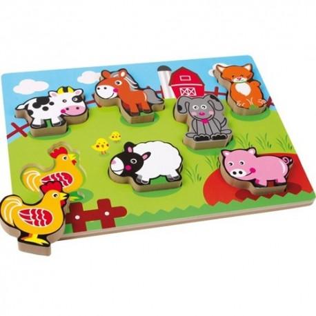 Legler Drevené puzzle s hrubými dielikmi - Farma