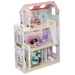 ISO Trade 6858 Drevený domček pre bábiky s doplnkami a 3 postavičkami